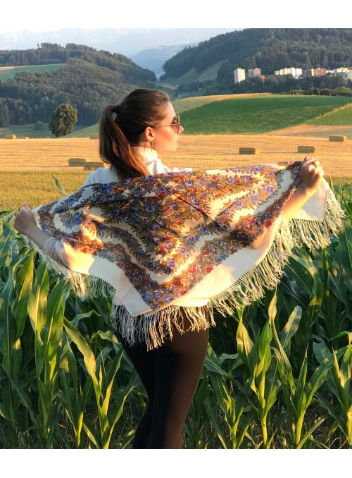 Shawl wool with silk fringe 125x125