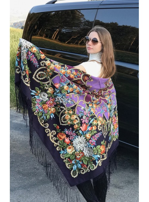 Shawl wool with knitted silk fringe 148x148